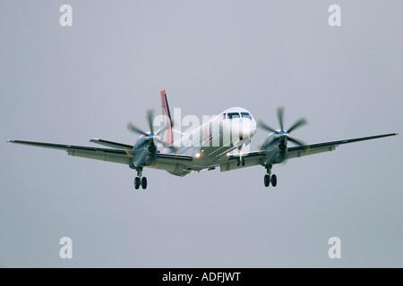 OLT Saab 2000 at London City Airport London UK - Stock Photo