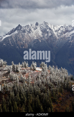 Nooksack Range with first snow of season Washington - Stock Photo