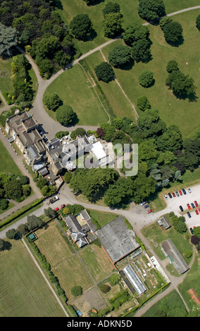 Oblique high level aerial view down of Nonsuch Park with Mansion House London SM3 England 2005 - Stockfoto