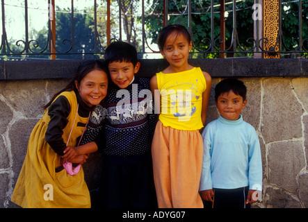 Mexican boys and girls, children, Plaza Hidalgo, Coyoacan, Mexico City, Federal District, Mexico - Stock Photo