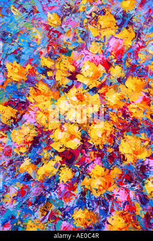 Bright colorful abstract psychedelic oil painting - Stock Photo