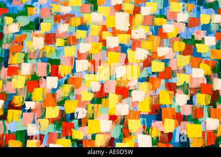 Abstract psychedelic oil painting in bright yellow colors - Stock Photo