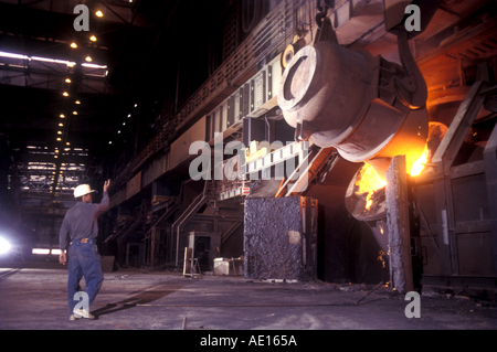 Steel furnace at SAIL Steel Authority of India Ltd plant Durgapur West Bengal India - Stockfoto