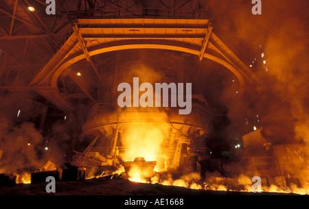 Steel furnace at SAIL Steel Authority of India Ltd plant Bokaro Jharkhand India - Stock Photo