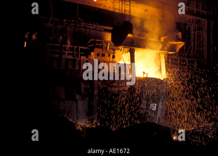 Steel furnace at SAIL Steel Authority of India Ltd plant Burnpur India - Stockfoto