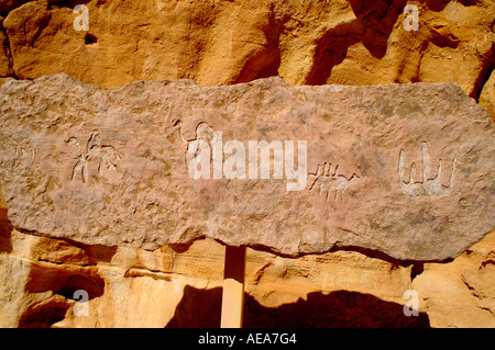 Prehistoric Rock art in the desert Timna natural and historic park Israel - Stock Photo