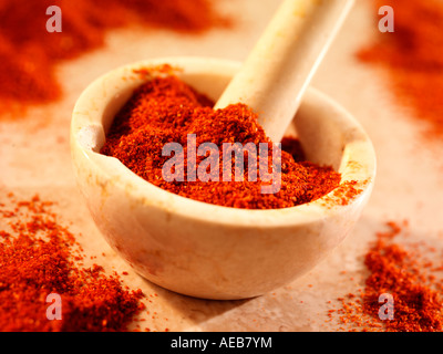 CHILLI POWDER IN PESTLE AND MORTAR - Stock Photo