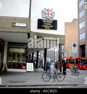A street scene and sign for the Corporation of London and Golden Lane Estate at Baltic Street West EC1 London KATHY - Stock Photo