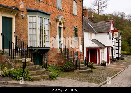 UK Wales Powys Montgomery Arthur Street Old Stores House Civic Society Museum in Old Bell House and old Plume of - Stock Photo