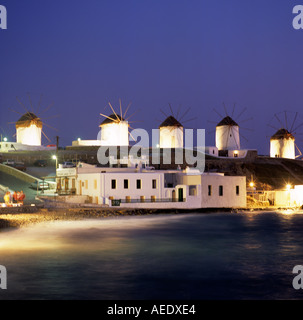 Windmills Mykonos Town Mykonos Greek Islands Greece Hellas - Stock Photo