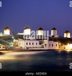 Windmills Mykonos Town Mykonos Greek Islands Greece Hellas - Stock Photo