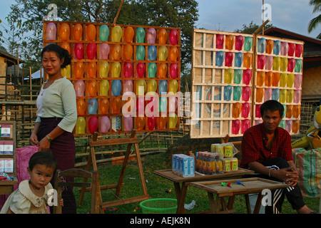 Ballons for dart at a temple festival near Vang Vieng Vang Vieng, Laos - Stock Photo