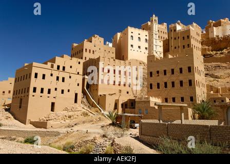 Old town of Al Hajjaryn, Wadi Doan, Hadramaut, Yemen - Stock Photo