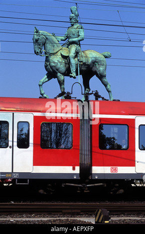 German Railways S-Bahn local passenger service arriving in Cologne, North Rhine-Westphalia, Germany. - Stock Photo