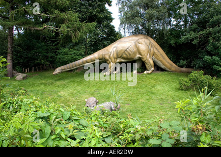 Dinosaur Statue in Hagenbeck Zoological Garden, Hamburg Germany - Stock Photo