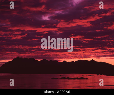 UK Scotland Inverne shire The Isle of Skye sunset and the Cuillin Mountains from Point of Sleat - Stock Photo