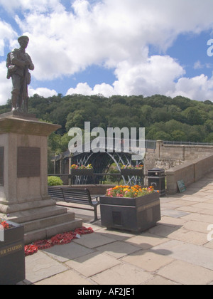 IRONBRIDGE SHROPSHIRE UK August War memorial stands in front of this iconic iron bridge which crosses the River - Stock Photo