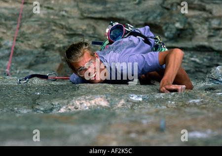 PICTURE CREDIT DOUG BLANE Rock climbing in Chamonix France - Stock Photo