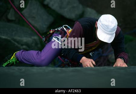 PICTURE CREDIT DOUG BLANE Rock climbing in the Peak District National Patk Grat Britain - Stock Photo