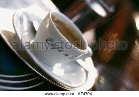 A cup of coffee on a table at the Café de Flore, Paris (1) - Stock Photo