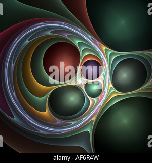 3d Abstract fractal image resembling metallic balls in twisted fabric - Stock Photo
