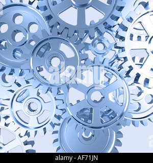 Set of gears mechanical background - Stock Photo