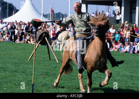 Medieval Festival, Knight games, Viking Ship Museum, Roskilde, Northern Zealand, Denmark - Stock Photo