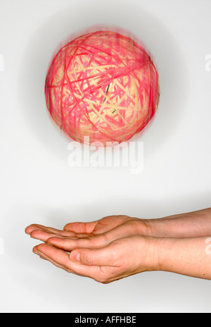 catch rubber band ball - Stock Photo