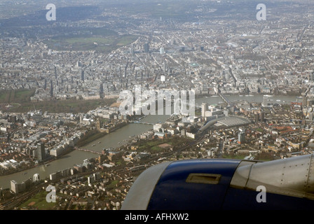 Aerial vew of Thames South Bank Millenium Wheel central London from aircraft approaching Heathrow airport LHR England - Stock Photo