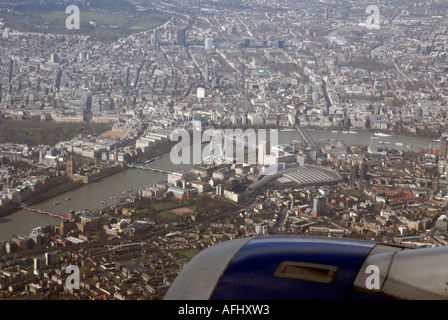 View of Thames South Bank Millenium Wheel central London from aircraft approaching Heathrow airport LHR England - Stock Photo