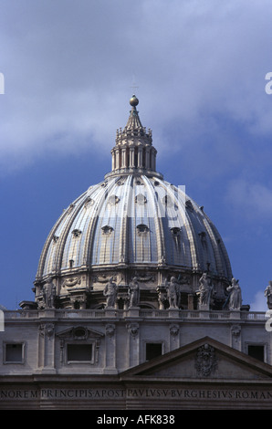 A view of the dome on Saint Peter s Basilica in Rome s Vatican City - Stock Photo