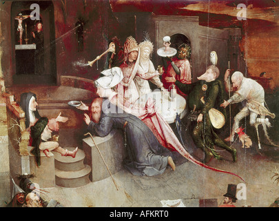 'fine arts, Bosch, Hieronymus, (circa 1450 - 1516), painting, 'the temptation of Saint Anthony', central panel, - Stockfoto