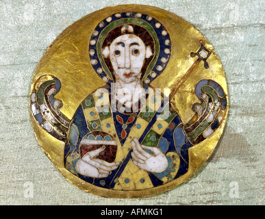 fine arts, religious art, angels, medaillon depicting an angel, byzantine art, gold, 6th /7th century AD, Bayerisches - Stock Photo
