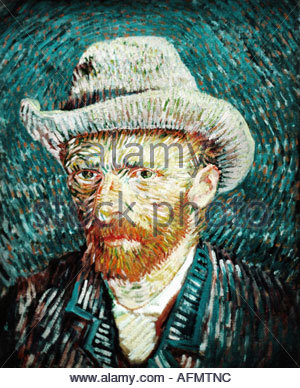 'fine arts, Gogh, Vincent van, (1853 - 1890), painting 'Self portrait with grey hat', 1887/88, oil on canvas, Rijksmuseum, - Stock Photo