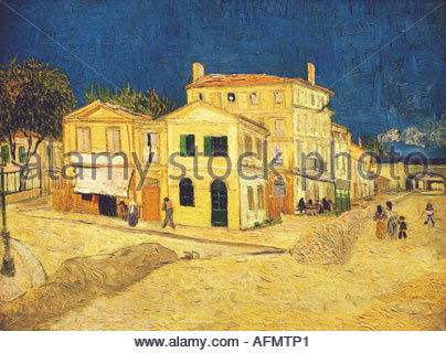 'fine arts, Gogh, Vincent van, (1853 - 1890), painting, 'Vincent's house at Arles', 1888, oil on canvas, Rijksmuseum, - Stock Photo