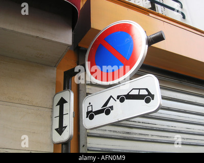 No parking traffic sign near Boulevard Voltaire Paris France - Stock Photo