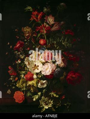 'fine arts, Ruysch, Rachel, (1664 - 12.8.1750), painting, 'still life', Alte Pinakothek, Munich, still lives, flower, - Stock Photo
