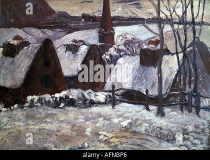 'fine arts, Gauguin, Paul (1848 - 1903), painting, 'Breton village under snow', 1894, oil on canvas, Musee d' Orsay, - Stock Photo