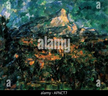 'fine arts, Cezanne, Paul, (1839 - 1906), painting, 'landscape at Aix', 1900, 78 cm x 99 cm, Eremitage, Saint Petersburg, - Stock Photo