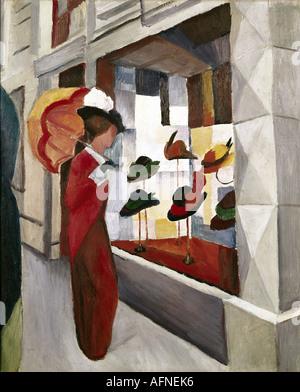 'fine arts, Macke, August, (1887 - 1914), painting, 'Frau mit Sonnenschirm vor einem Hutladen', ('woman with parasol - Stock Photo