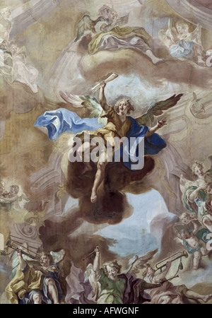fine arts, religious art, angels, orchestra of angels, detail, angel with scroll, fresco, by Gottfried Bernhard - Stock Photo