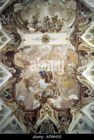 fine arts, religious art, angels, orchestra of angels, fresco, by Gottfried Bernhard Göz (1708 - 1760), Birnau minster, - Stock Photo