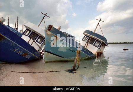 MEXICO Abandoned shipwreck boats Isla Mujeres Mexico - Stock Photo