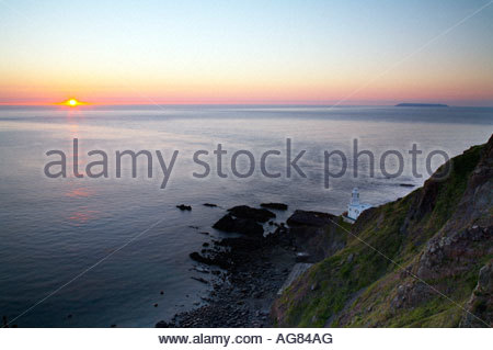 Lighthouse at Hartland Point North Devon England UK - Stock Photo
