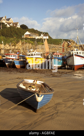 Fishing boats moored in the harbour at Newquay on the north coast of Cornwall in the UK - Stock Photo
