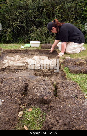 Archeologically dig of the old wharf at Stoke Breune Northamptonshire on the Grand Union Junction Canal - Stock Photo