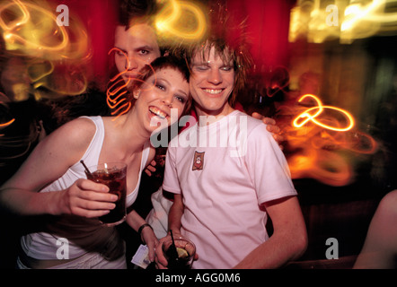 a couple in party mood at nightclub, Stockholm, Sweden - Stockfoto