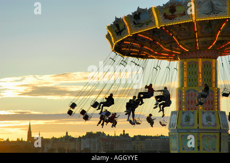 attraction/carousel in amusement park, Gröna Lund, Stockholm, Sweden - Stock Photo