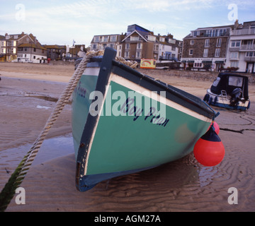 fishing boat boy piran beached in st ives harbour cornwall england in 7x6 - Stock Photo