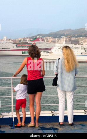 Tourists on ferry / Patras - Stock Photo